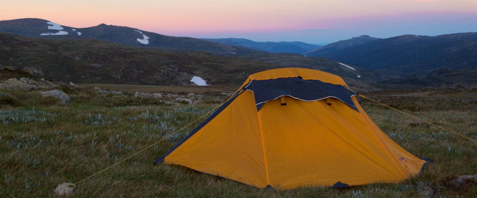 Tent at the summit of Mt. Kosciuszko in Australia