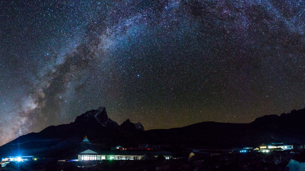 A nighttime view of the Milky Way in Nepal