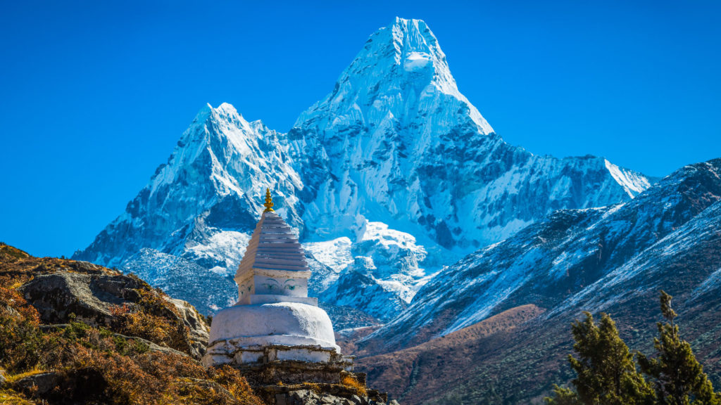 View of the peak of Mt. Everest
